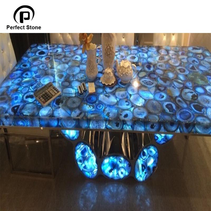 Blue agate table countertop semiprecious stone for gemstone countertops