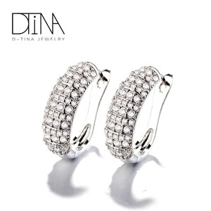 DTINA Luxury Charm Platinum Earrings Fancy Design Wedding Earrings