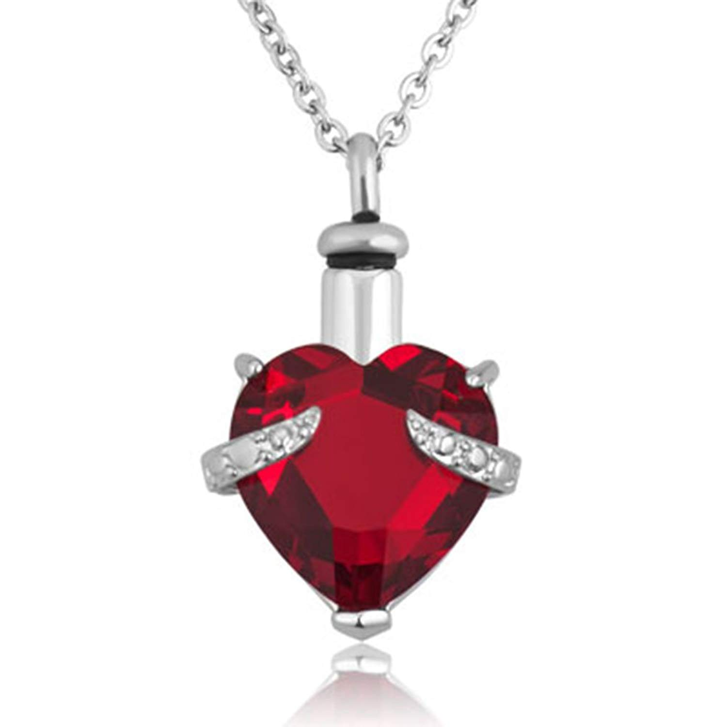 c1ad137a3 Get Quotations · Jesse Ortega 12 Colors Birthstone Cremation Urn Necklace  of Ashes Heart Crystal Keepsake Memorial Stainless Steel