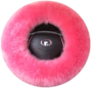 Genuine Australia Sheepskin Woolen Fur Steering Wheel Cover for plush Car Interior Accessories