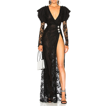 Ladies lace dress puff sleeve side slit black sexy women party translucent dress