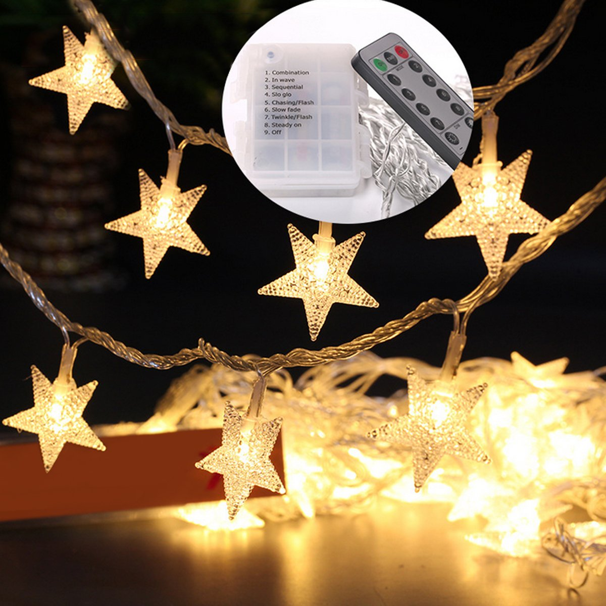 Get Quotations Yotako 5m 40 Led Star String Lights Battery Operated With Remote Decorative Fairy