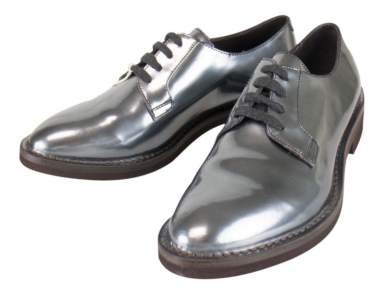 ed625538588ed5 Get Quotations · Brunello Cucinelli Gray Patent Leather Oxford Shoes Size  38.5 8.5