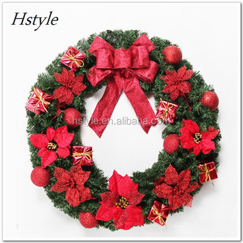 china manufacture christmas ornament high end christmas pine needle xmas wreath with fly deer. Black Bedroom Furniture Sets. Home Design Ideas
