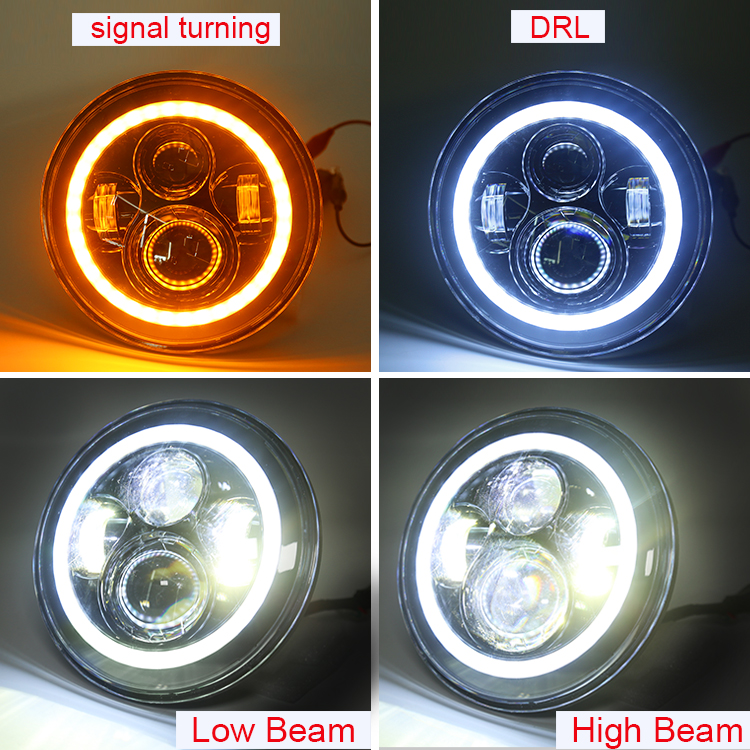 색 변경 RGB 7 inch led round 전조등, 블루투스 앱 wireless control 7 '의 '2 led head lamp 대 한 Jeep JK TJ CJ