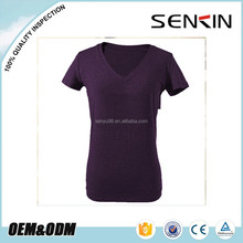 wholesale woman cotton v-neck t shirt 100 combed cotton rubber printed t shirts oem