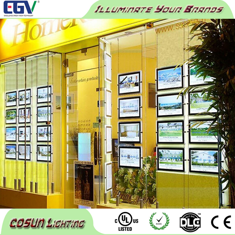 Double sides real estate agent signs led window display magnetic light pockets shadow box led light kit