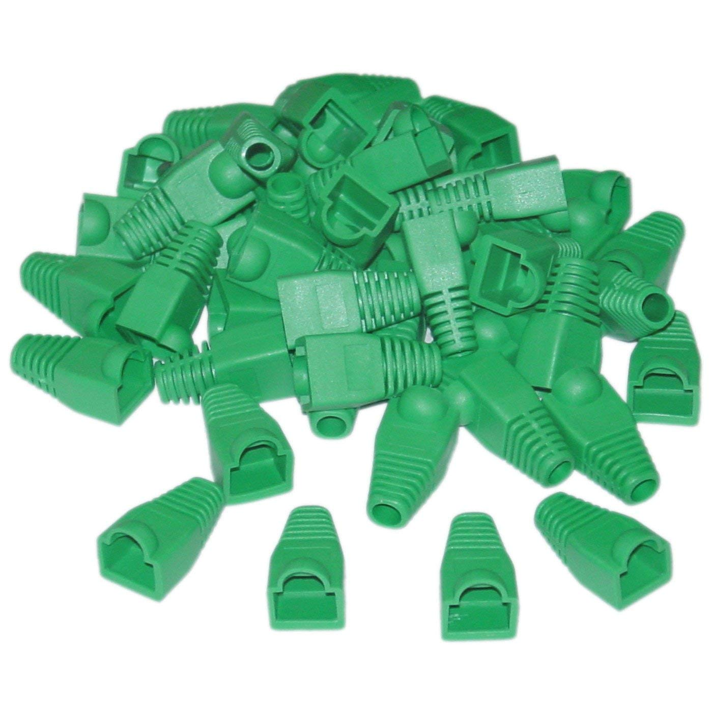 GOWOS RJ45 Strain Relief Boots, Green, 50 Pieces Per Bag - Coded Modular Shielded Plug Mod Ethernet Connector