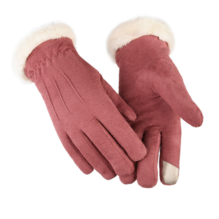 Winter Outdoor Warm Cute Leather Touch Screen Gloves for Women