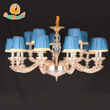 15 lights blue fabric lamp shades led Chandelier with modern designs