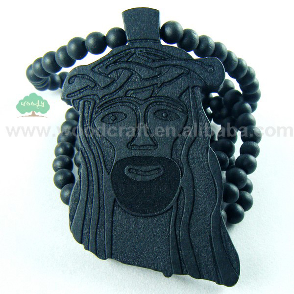 Hip Hop Good Wood Jesus Piece Necklace God Christ Pendant Bead Chain Wooden Jewelry Fast Shipping