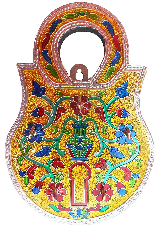 Decorative & Elegant Key Hook Holder in Lock Shape Made in Menikari , Indian Handicrafts