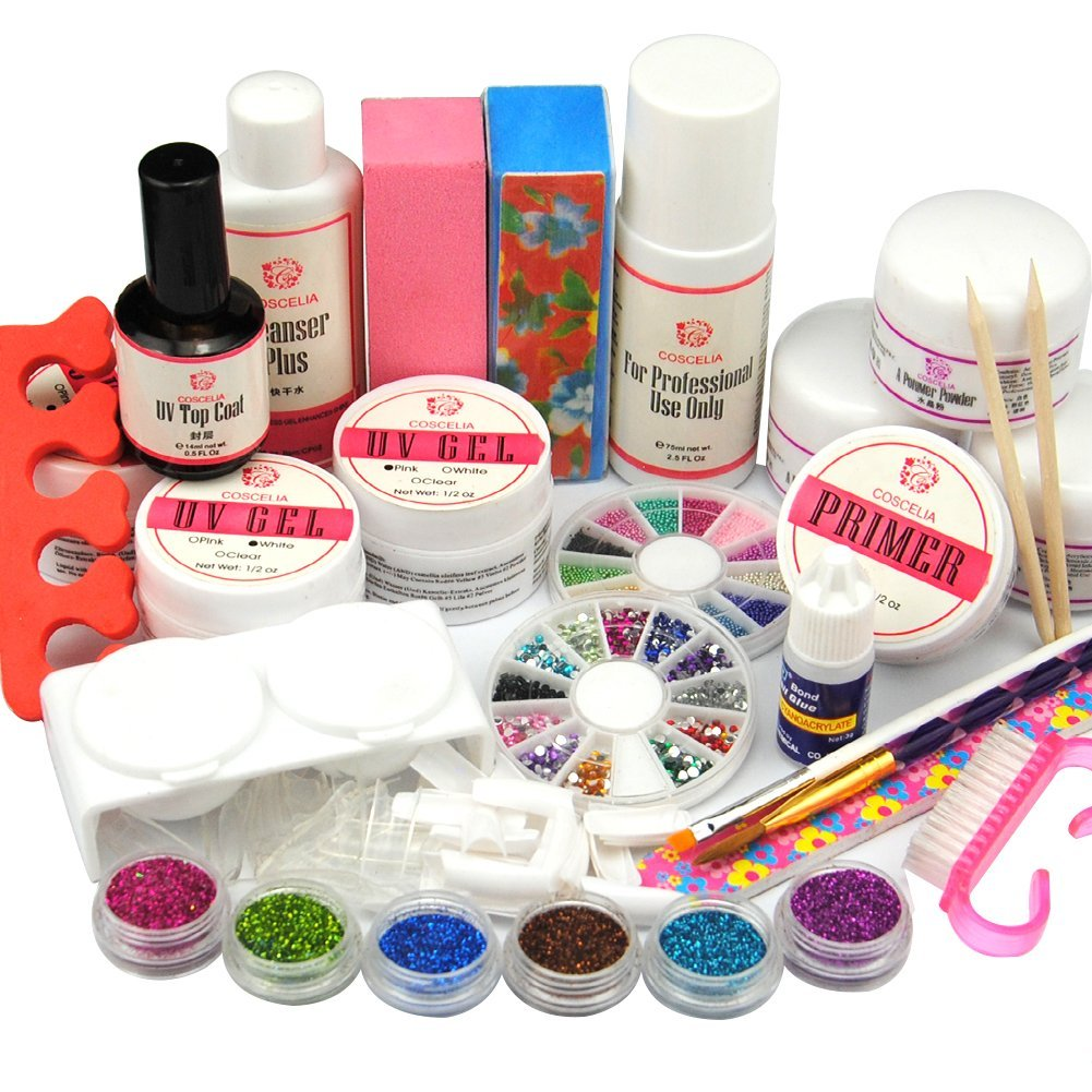 Coscelia Full Nail UV Kit Acrylic Powder UV gel Pirmer Top gel Kit Glitter Acrylic Liquid 75ml Nail Art UV gel Tools Kit 304
