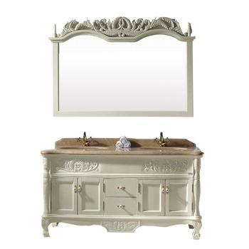 24 pouces salle de bain vanit en bois massif antique - Double evier salle de bain ...