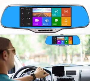 Android 4.4 system Dual lens vehicle hidden door wireless camera with rear view mirror car monitor gps