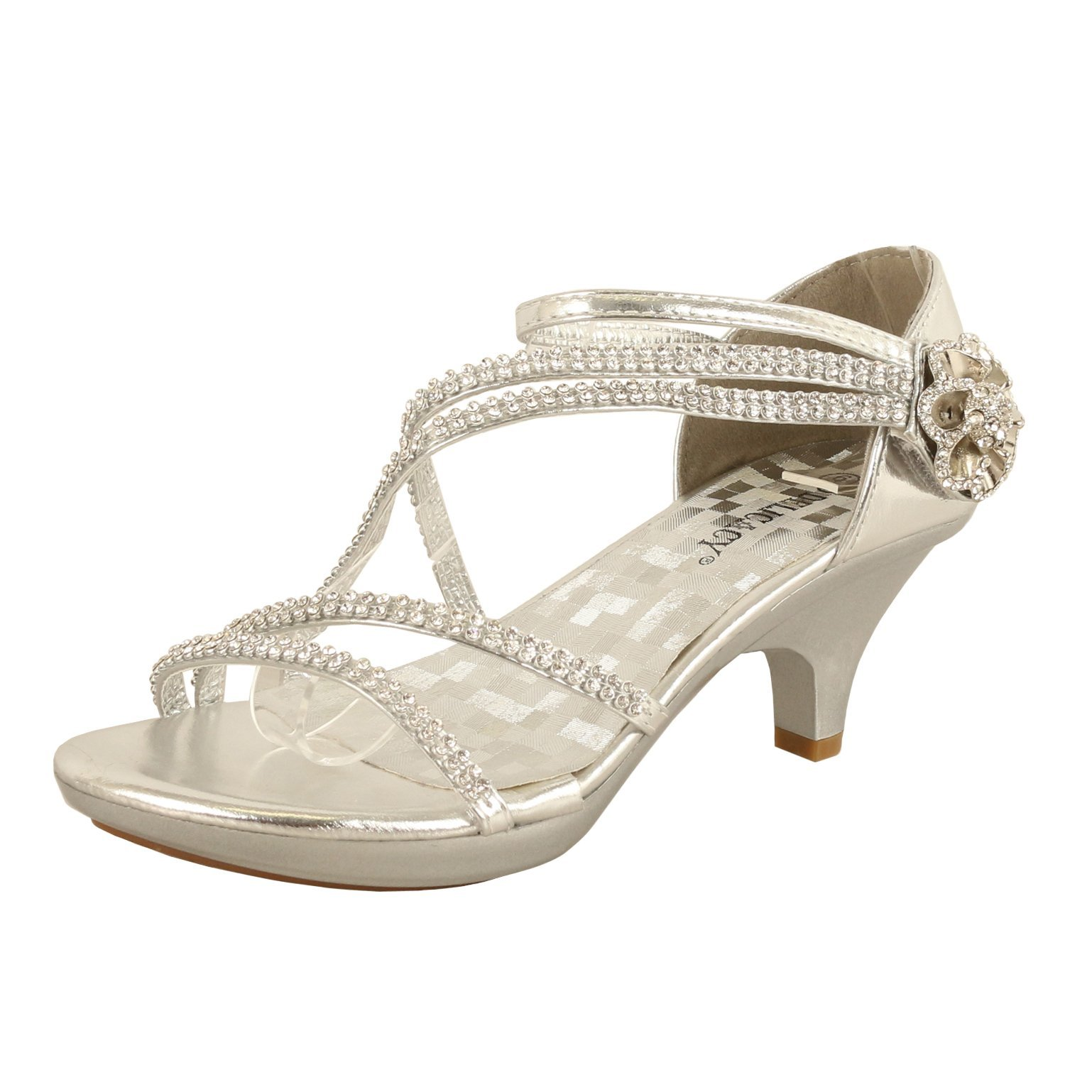 5806a67d72c3 Get Quotations · Delicacy JJF Shoes Angel-62 Womens Strappy Rhinestone  Dress Sandal Low Heel Shoes