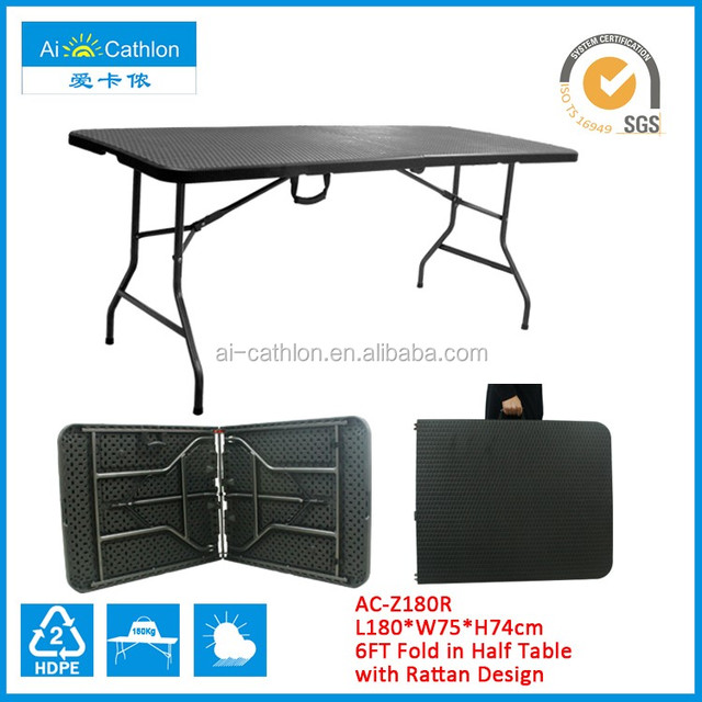 6 Feet Long Center Folding Banquet BBQ Camping Outdoor Plastic Folding Table