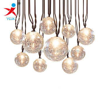 Hanging Clear Crackle Glass Globe Ball Lamp Shade For Sale