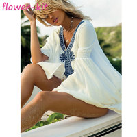 Summer Beach Cover Up Top Quality Blue Embroidered Women Summer Dresses Beach