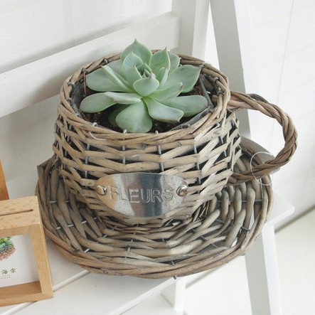 handicraft tea cup shapes wicker baskets for potted plants