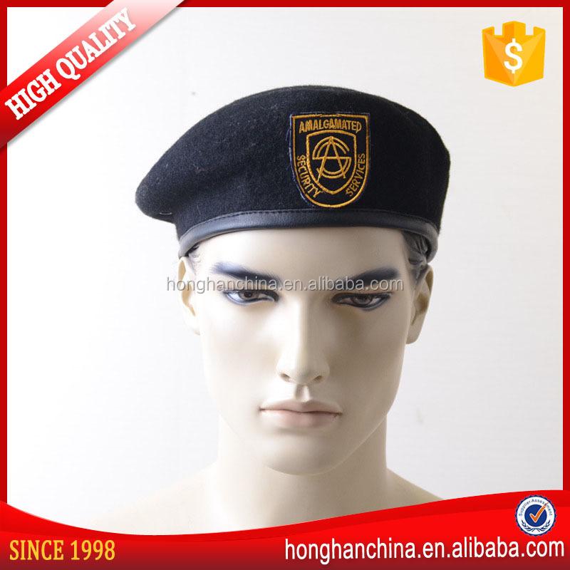 100% lã boina do exército marinheiro bordado boina preta-Boinas-ID ... 4a3ea5aa6c7