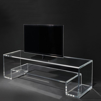 Custom Clear Acrylic Stunning Tv Stand Monitor Perspex Computer Screen Holder Table With Book