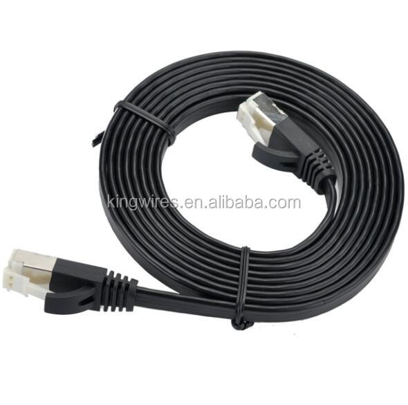 Snagless Shielded SSTP patch cord cat 7 flat lan cable with Nylon Jacket Connector