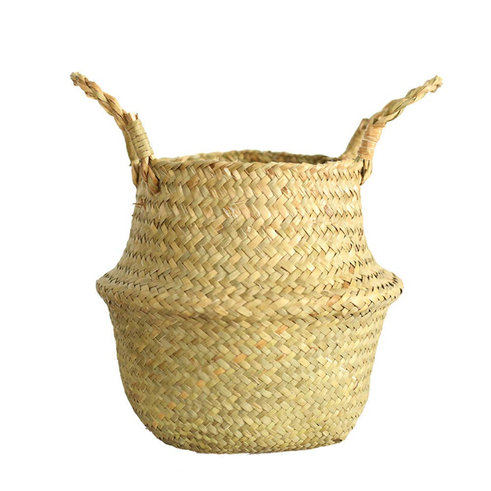 Seagrass Wicker Basket Wicker Basket Flower Pot Folding Basket Dirty Basket Storage Home Decor Natural Seagrass Belly Basket with Handles Large Storage Laundry Basket (Beige)