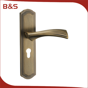 China supplier custom fancy front antique metal zinc door handle with plate