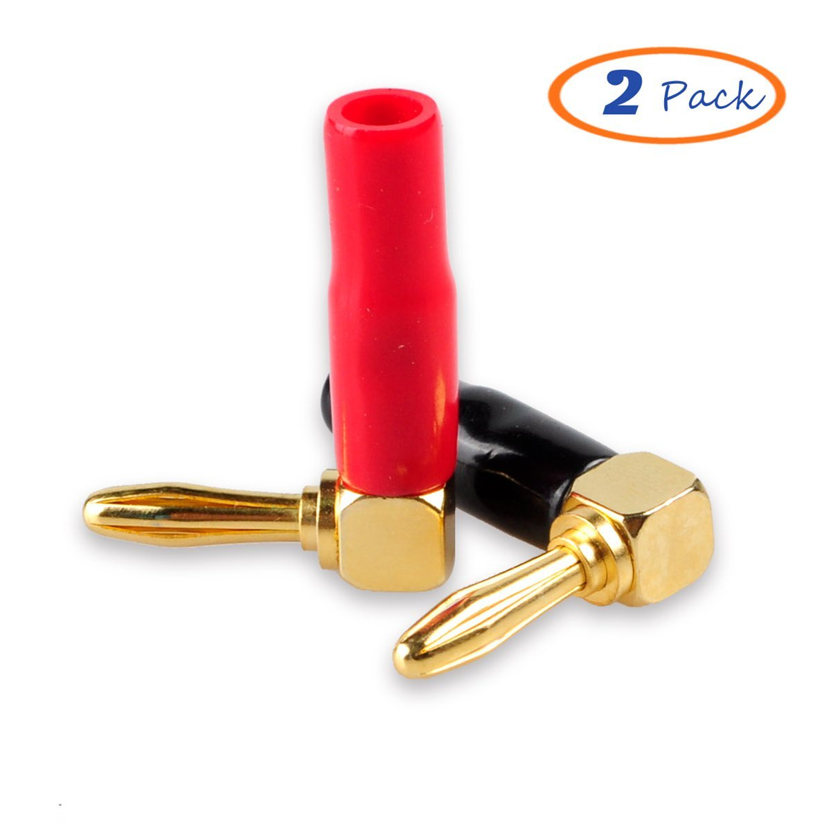 2 Black + 2 Red HoGadget 2 Pair 4mm Banana Plugs Screw Type Banana Plug 90 Degree Right Angle Speaker Cable Connector Copper Gold Plated