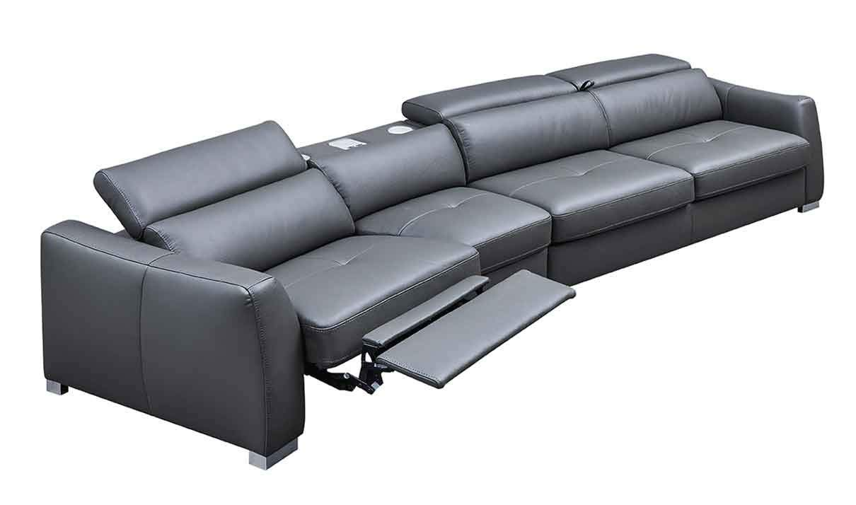 ESF Furniture 312 Leather Left Hand Facing Sectional Sofa in Dark Grey