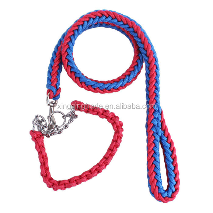 Big Pet Dedicated Dog Leash And Collar Strands Plaited Rope Dogs Collars Leashes Chain Strong For Large Dogs Animals