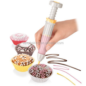 Cupcake Cookies Cake Decorating Pen With 5 Nozzles for Egg White Frosting Buttercream Chocolate
