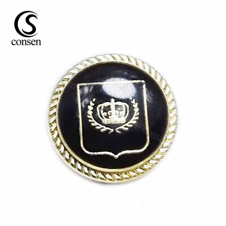 Enamel style customized logo stamping gold jeans metal shank buttons