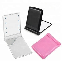 LED Pocket Mirror with 8 LED Lights Vanity Makeup Mirror Folding Portable Compact