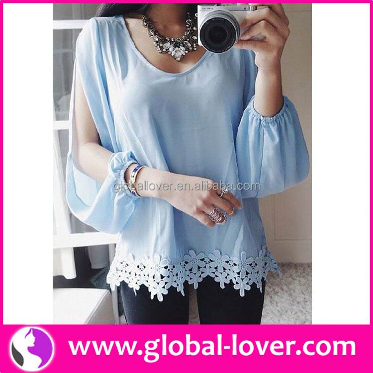 Latest arrival light blue floral top clothing factory outlet