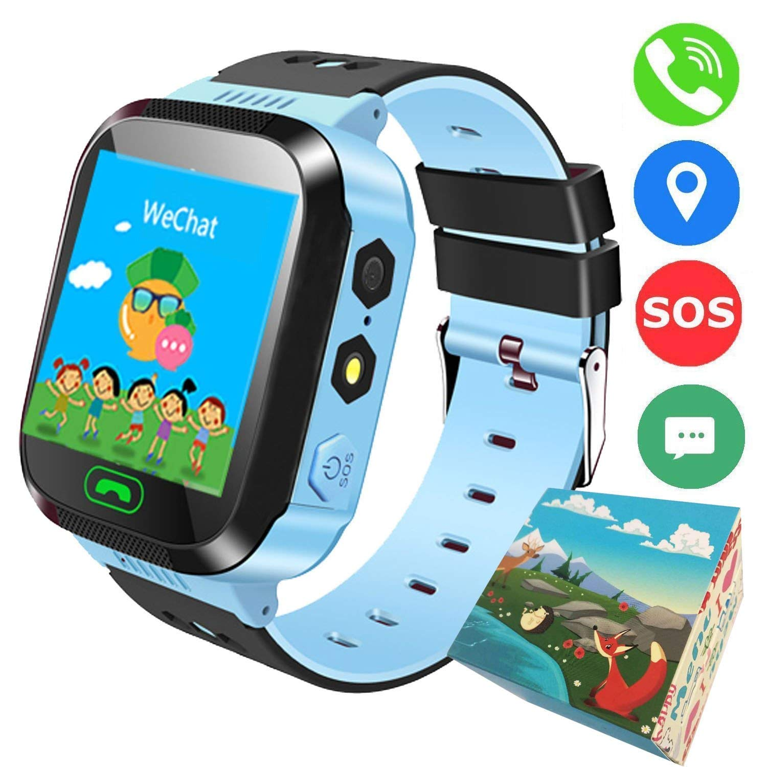 Smart Phone Watch,Kids Smart Watch with GPS Tracker for Kids Boys Girls, Children Wristwatch with SIM Card SOS Anti-Lost Alarm Monitor Camera Flashlight Sports Outdoor for iOS Android Children Gifts