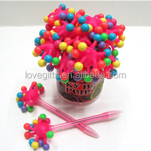 Craft Gift Plastic Flash Beads Ball Pens/Spiky Ball Pens