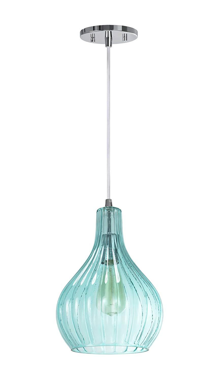 "Aspen Creative 61039-1 Adjustable 1 Light Mini Pendant Ceiling Light, Transitional Design in Chrome Finish, Surf Green Glass Shade, 8 5/8"" Wide"