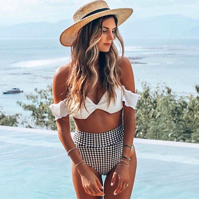 2019 Explosion Models Ladies Split Swimsuit Europe And America Bikini Hot High Waist Dot Print Bikini, White