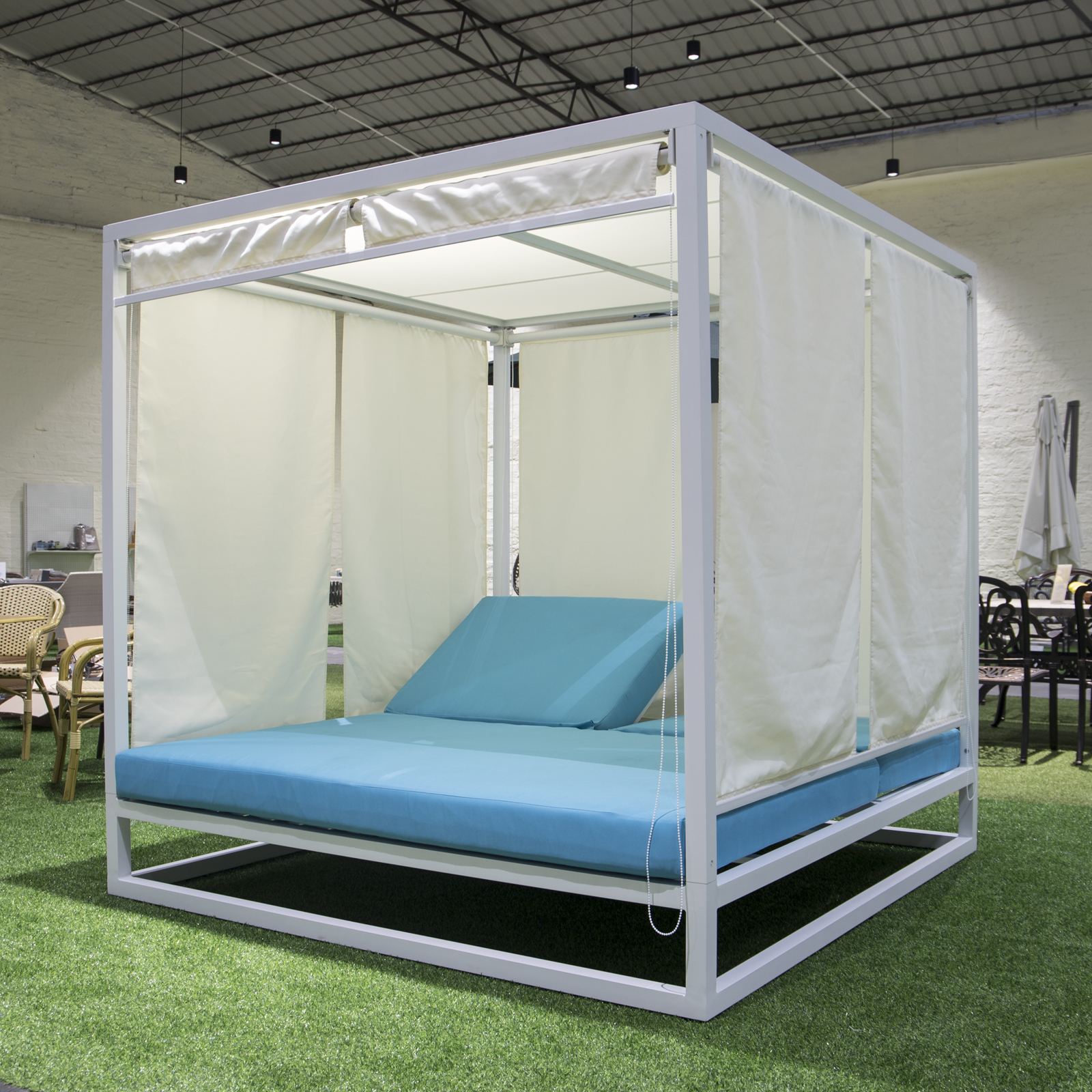 White aluminum outdoor patio furniture Canopy bed for hotel