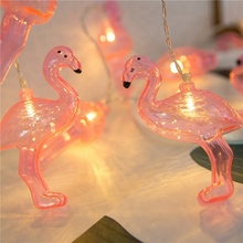 Battery Operated Plastic Pink Flamingo LED String Lights Party Wedding Supplies Home decoration