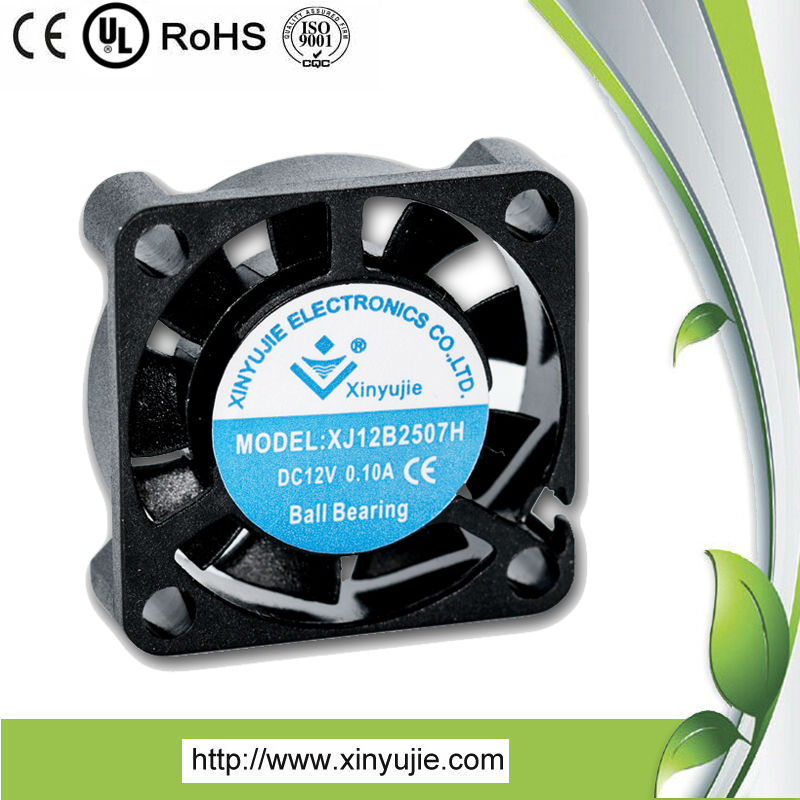 XJ 25*25*07mm high quality industrial exhaust fan/5v12v dc mini fan/watercooling