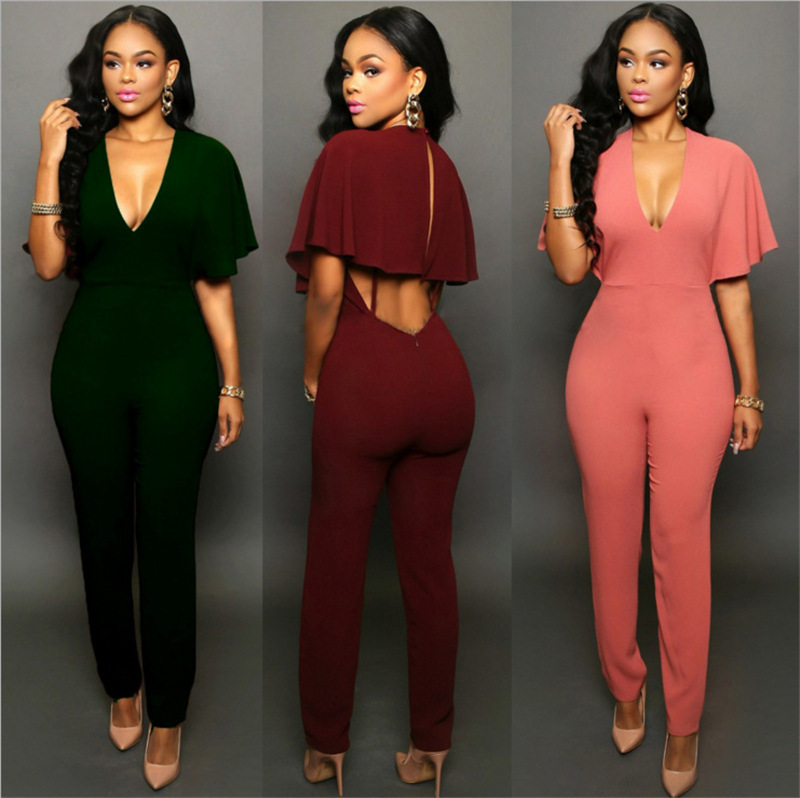 Fashion Rompers Women's Jumpsuit Summer Jumpsuits for Women 2018 Batwing Sleeve Jumpsuit Female Casual Overalls, Black/dark red/dark green/pink