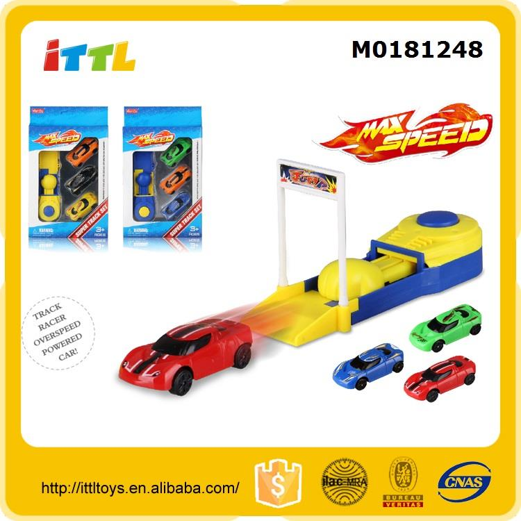 Children play toy orbit car toy rail car railway set