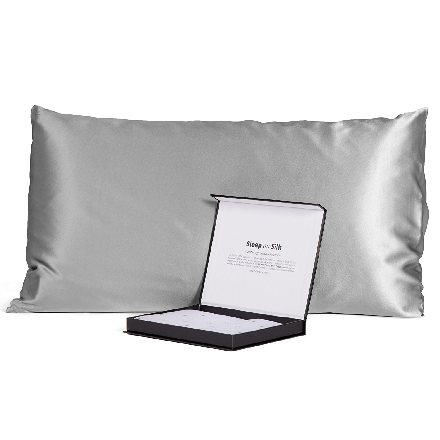 100% Pure 30MM Mulberry Silk Pillowcase, Pure Opulence Our Black Label Collection (Silver, King)