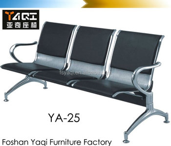3 Seater Comfortable Black Clinic Bench Barber Waiting Chairs YA 25