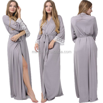 a35e482864c 2017 New Arrivals Latest Nighty Designs Long Jersey Stretchy Robes  Bridesmaid Gift Sleepwear Bridal Robes Maxi