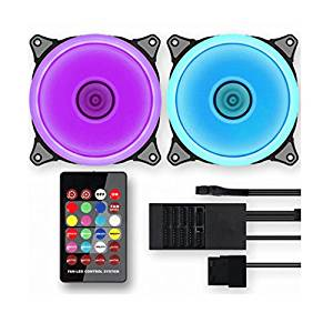 ABKO Suitmaster Halo 120F RGB LED PC Tuning Cooling FAN Freezer Set of 2 + Remote Controller - PAN LED Control System