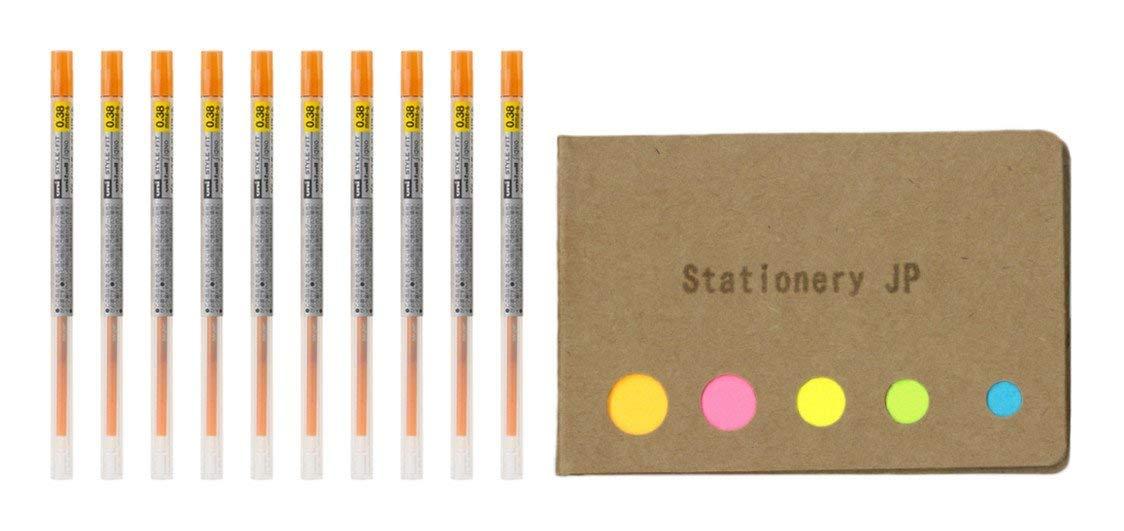 Uni-ball Signo Gel Ink Refills for Uni Style Fit Gel Multi Pen 0.38mm Orange Ink, 10-pack, Sticky Notes Value Set